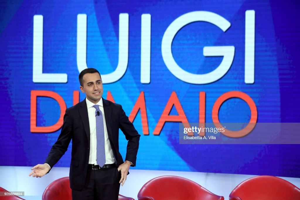 Five Stars Movement leader and candidate Luigi di Maio attends the TV debate show 'L'Aria Che Tira' at La7''s broadcast studios on March 1, 2018 in Rome, Italy. The Italian General Election takes place on March 4th 2018.