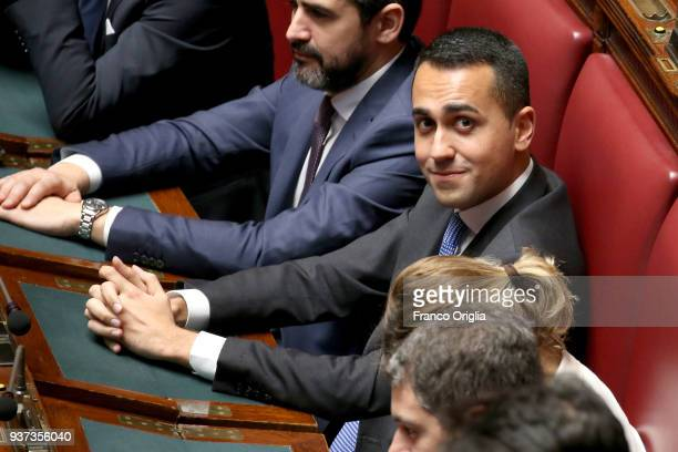 Five Stars Movement leader Luigi Di Maio attends the voting for the new president of Italy's Chamber of Deputies at Palazzo Montecitorio on March 24...