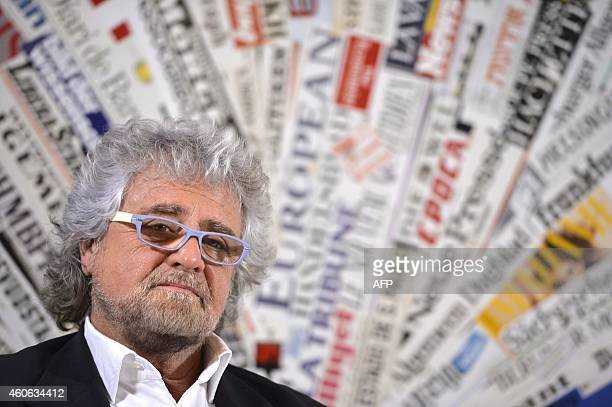Five Stars movement's leader Beppe Grillo attends a press conference on December 18 2014 in Rome AFP PHOTO / ANDREAS SOLARO
