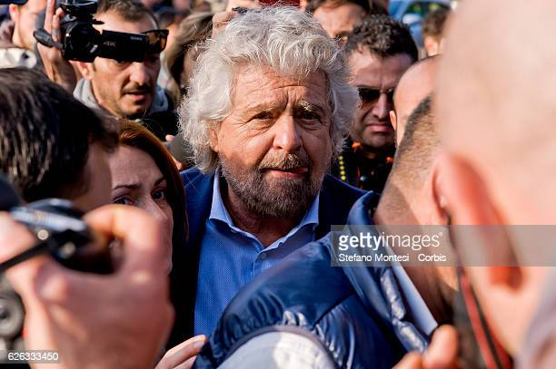 Five Stars movement's leader Beppe Grillo during a demonstration for the upcoming Constitutional referenda to be held on December 4 on November 26...