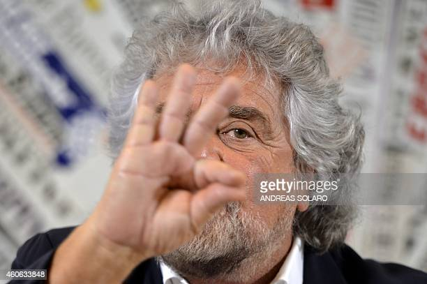 Five Stars movement's leader Beppe Grillo gestures during a press conference on December 18 2014 in Rome AFP PHOTO / ANDREAS SOLARO