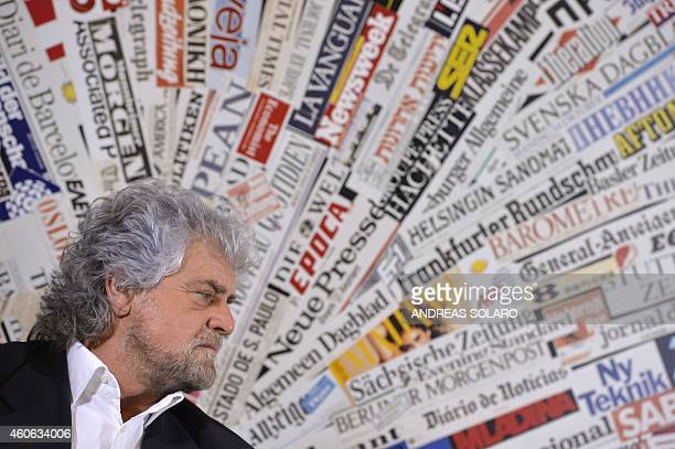 Five Stars movement's leader Beppe Grillo gives a press conference on December 18 2014 in Rome AFP PHOTO / ANDREAS SOLARO
