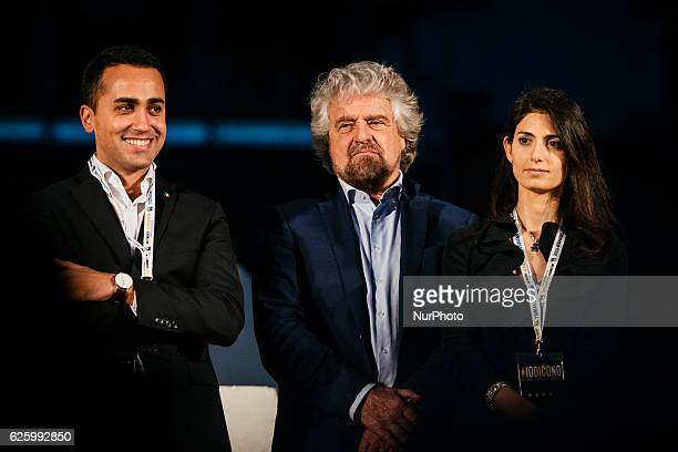 Five Stars movement's leader Beppe Grillo poses with Luigi Di Maio and Mayor of Rome Virginia Raggi during a demonstration for the upcoming...