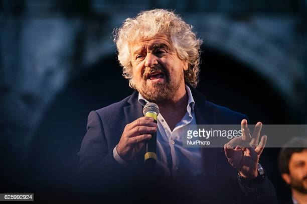 Five Stars movement's leader Beppe Grillo speaks during a demonstration for the upcoming constitutional referenda to be held on December 4 in...