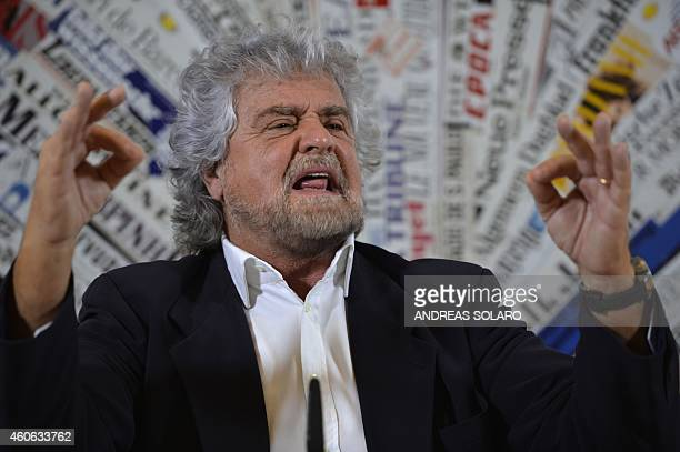 Five Stars movement's leader Beppe Grillo speaks during a press conference on December 18 2014 in Rome AFP PHOTO / ANDREAS SOLARO