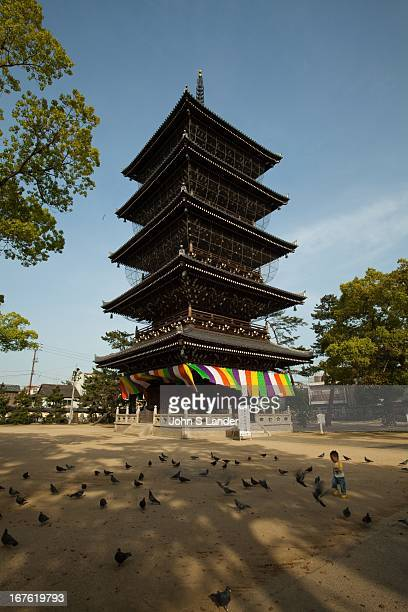 Five Storey Pagoda at Zentsuji in Kagawa Prefecture is number 75 and the largest of the 88 Sacred Temples of Shikoku an ancient pilgrimage route that...