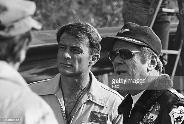 SHEEP Five the Hard Way Episode 18 Aired 2/1/77 Pictured Robert Conrad as Maj Greg 'Pappy' Boyington episode director Jackie Cooper Photo by NBCU...