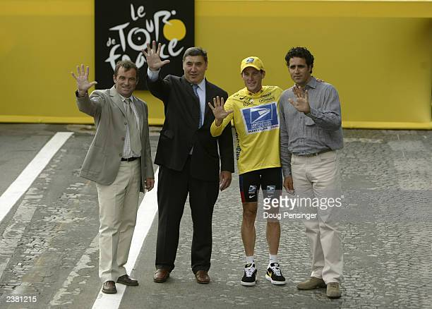 Five time Tour de France winners Bernard Hinault of France, Eddie Merckx of Belgium, Lance Armstrong of the United States and Miguel Indurain of...