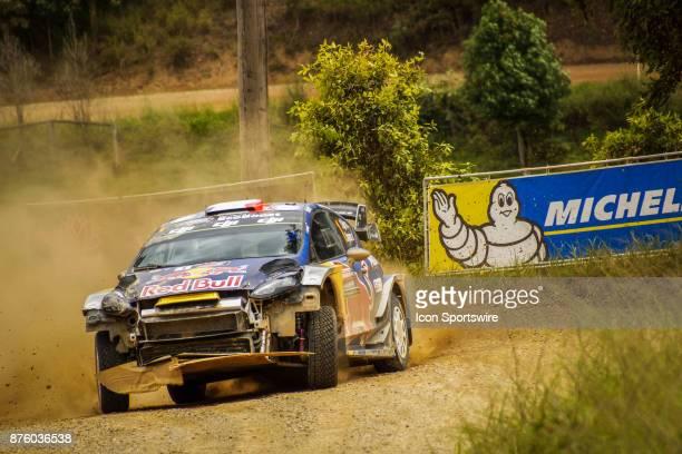 NSW AUSTRALIA NOVEMBER 18 2017 Five time WRC Champion Sébastien Ogier and codriver Julien Ingrassia of MSport cross a creek during the Pilbara Stage...