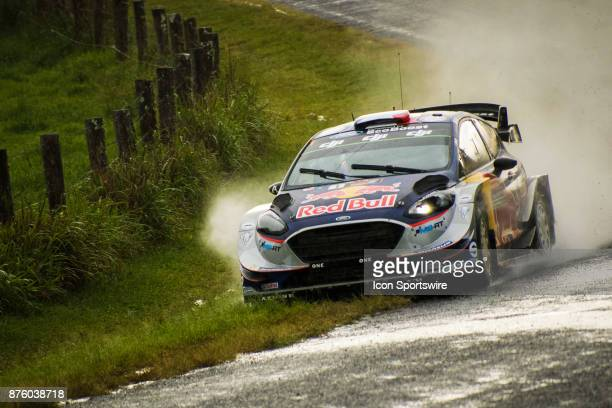 Five time WRC Champion Sébastien Ogier and codriver Julien Ingrassia of MSport cuts a corner in the rain on day two of the Rally Australia round of...
