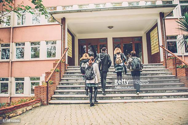 five turkish students going to school, istanbul - secondary school stock pictures, royalty-free photos & images