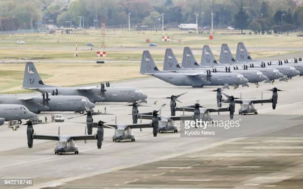 Five US Air Force CV22 Ospreys taxi at Yokota Air Base in Tokyo on April 5 2018 ==Kyodo