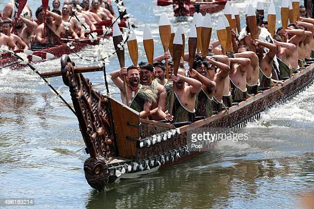 Five waka maori canoes salute Prince Charles Prince of Wales and Camilla Duchess of Cornwall receive a 'Powhiri' maori challege on their arrival at...