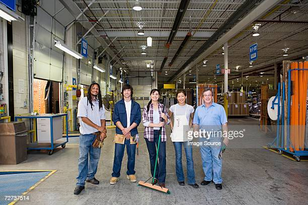 five workers in a factory - east asia stock pictures, royalty-free photos & images