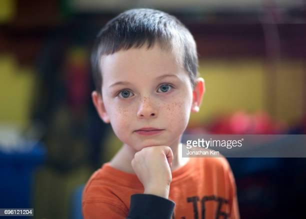 Five year old boy portrait.