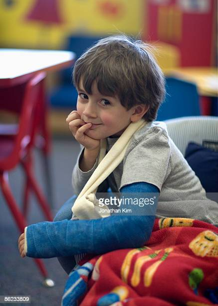 Five year old boy with broken arm.