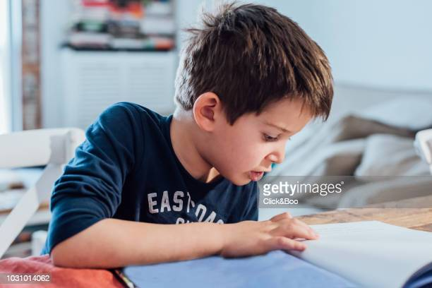 Five years old kid reading a book indoors (home interior)