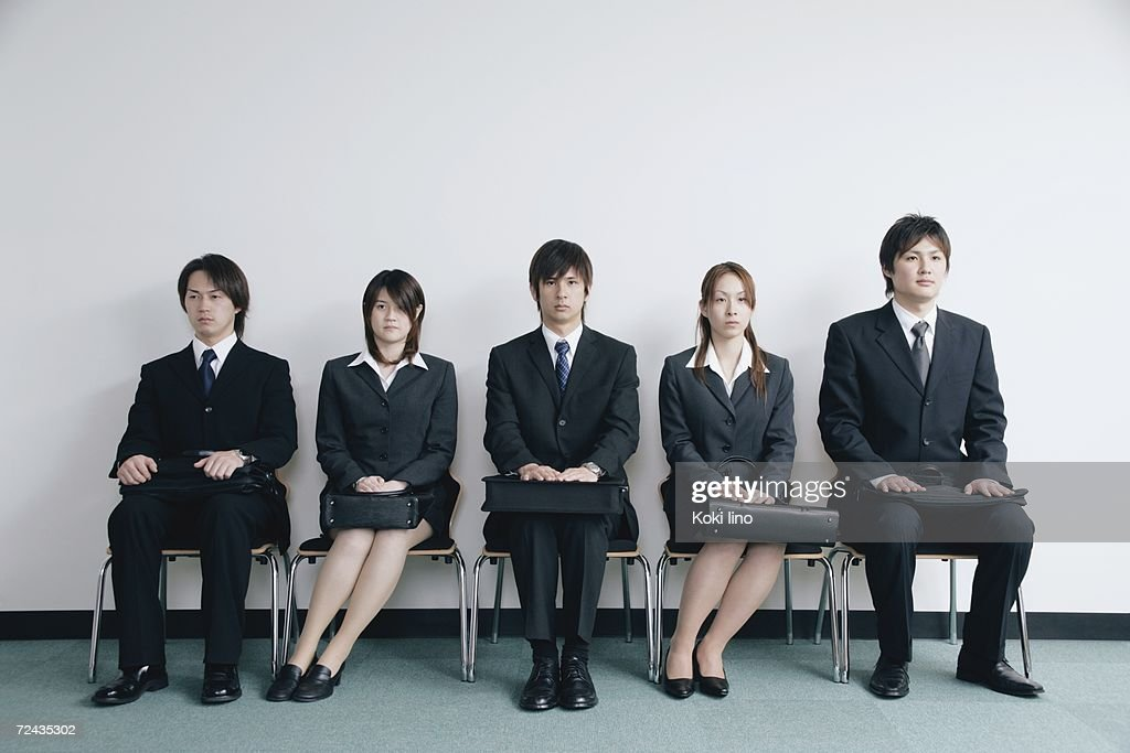 five young people waiting for job interview ストックフォト getty