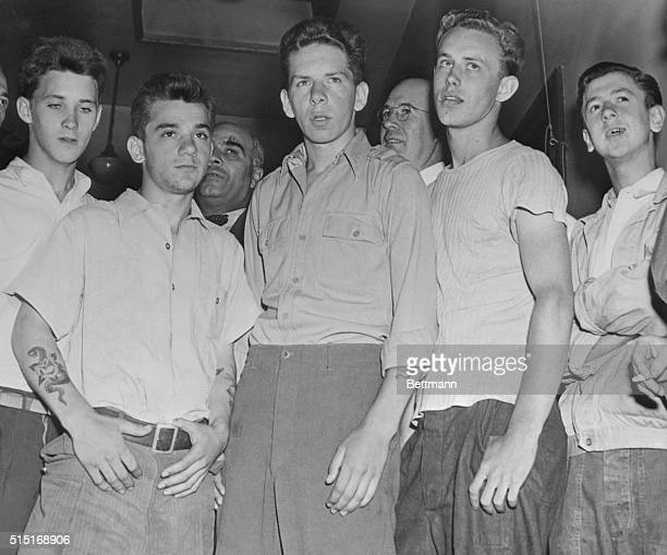 Five youths Henry Green Anthony Bono John O'Brien Charles Lockhart and Thomas Nolan downtown at the Philadelphia police station following their...