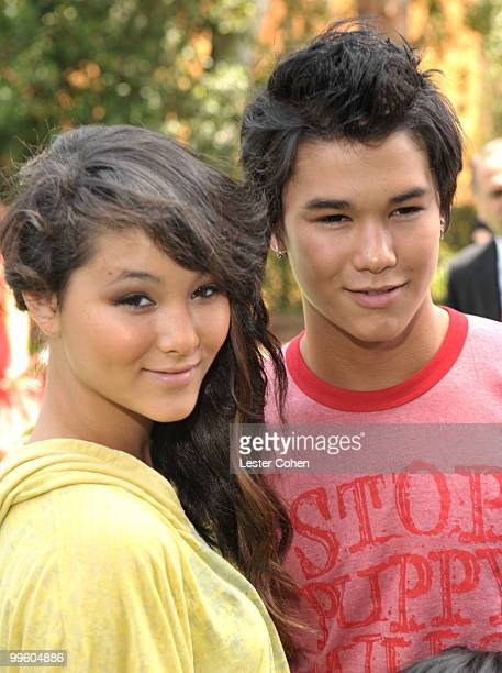 Fivel Stewart and actor Boo Boo Stewart arrive at the 'Shrek Forever After' Los Angeles premiere held at Gibson Amphitheatre on May 16 2010 in...