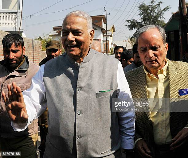 A fivemember delegation led by former External Affairs Minister and senior BJP leader Yashwant Sinha arrives to meet top Kashmiri hardliner Syed Ali...