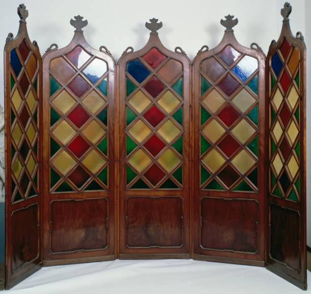 five panel screen with walnut frames pictures getty images