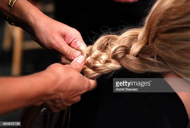 Five-Strand Braid hairstyle at the Marissa Webb fashion show with TRESemme during Mercedes-Benz Fashion Week Spring 2015 at The Salon at Lincoln...