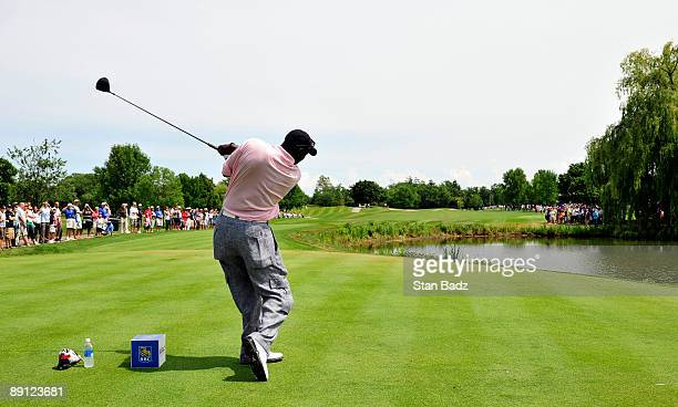 Five-time NBA MVP Michael Jordan hits a drive during the RBC Canadian Open's Mike Weir Charity Classic Pro-Am at Glen Abbey Golf Club on July 20,...