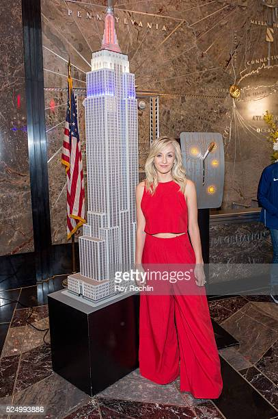 Fivetime Olympic medal winning gymnast Nastia Liukin attends as Team USA Athletes light the Empire State Building red white and blue to celebrate the...