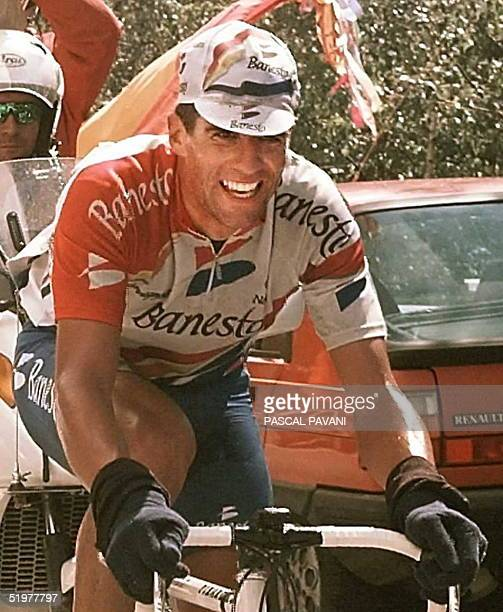 Fivetime winner of the Tour de France Spaniard Miguel Indurain races during the seventh stage of the French cycling race between Chambery and Les...