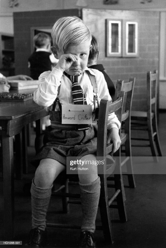 Five-year-old Howard Crafter in tears on his first day at school at St Nicholas County Primary School in Loughton, Essex.