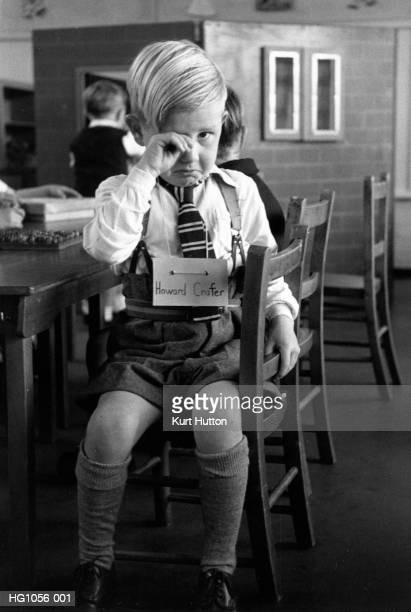 Fiveyearold Howard Crafter in tears on his first day at school at St Nicholas County Primary School in Loughton Essex