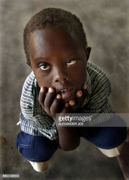 A 5 years old Namibian Aids orphan in a small town of Uutapi in northwest Namibia 26 November 2002 at a day centre that looks after orphaned children...