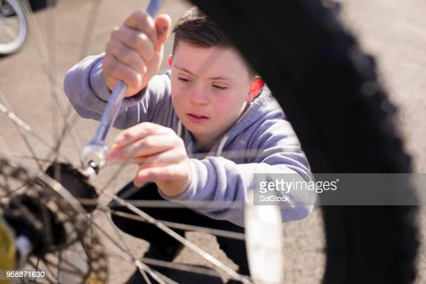 自宅の自転車を修正