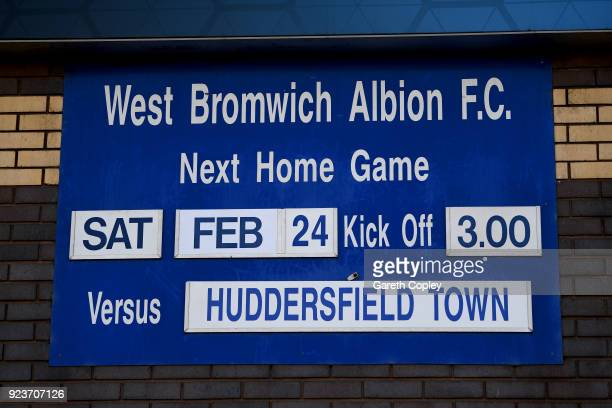 A fixture board is seen prior to the Premier League match between West Bromwich Albion and Huddersfield Town at The Hawthorns on February 24 2018 in...