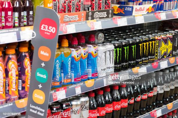 Fizzy sugary drinks on a supermarket shelf on April 27 2017 in Cardiff United Kingdom