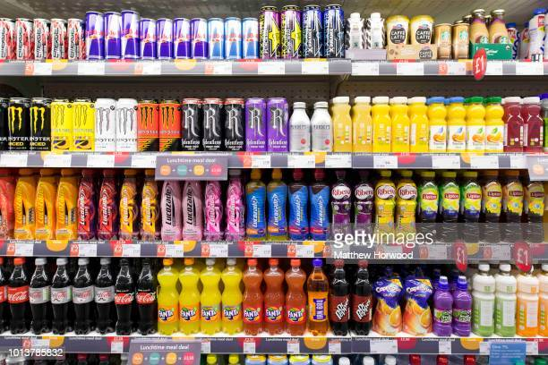 Fizzy sugary drinks on a supermarket shelf on September 21 2017 in Cardiff United Kingdom