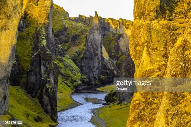 fjadrargljufur canyon in autumn - 峡谷 ストックフォトと画像
