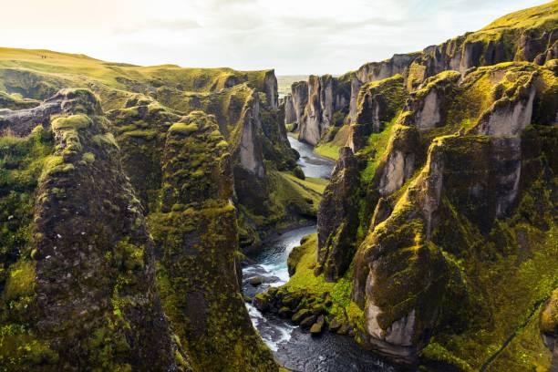 fjadrargljufur canyon in iceland - horizontal stock pictures, royalty-free photos & images