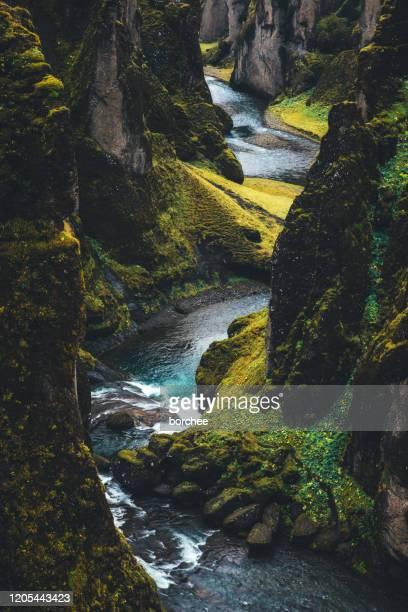 fjadrargljufur canyon in island - island stock-fotos und bilder