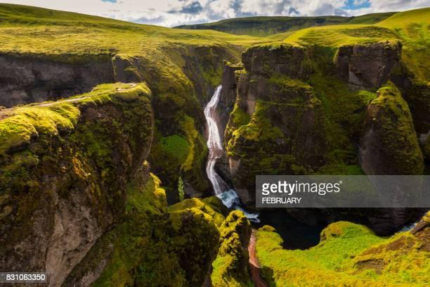 fjadrargljufur canyon in summer, iceland - 峡谷 ストックフォトと画像