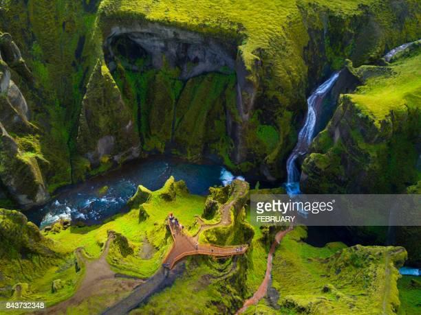 fjadrargljufur canyon in summer, iceland - canyon stock-fotos und bilder