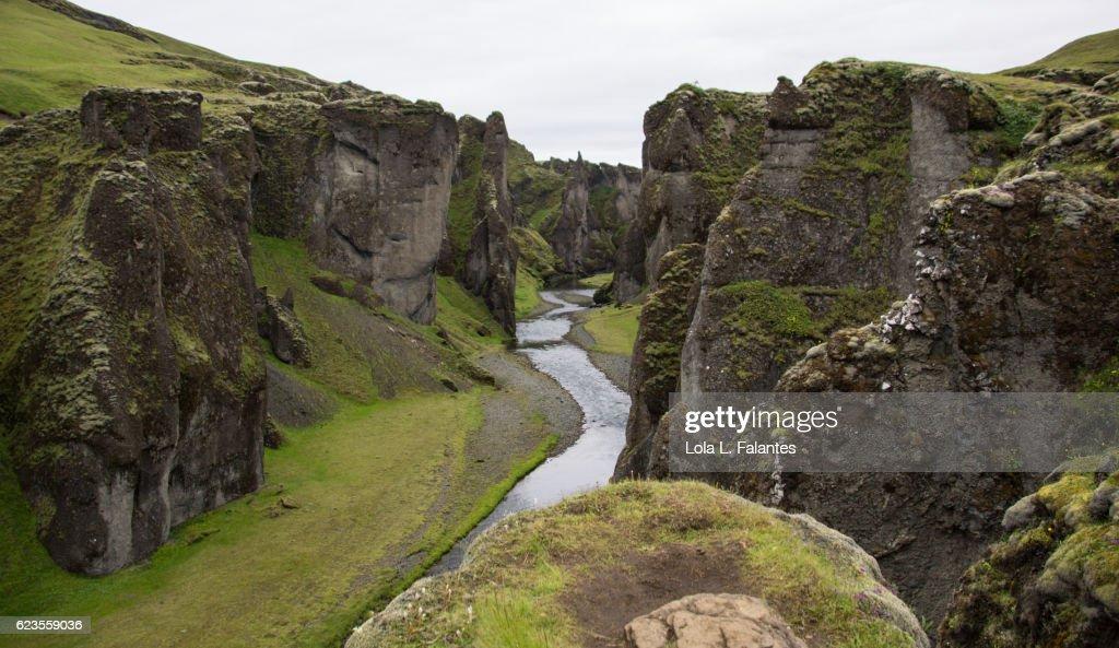 Fjaðrárgljúfur canyon : Foto de stock