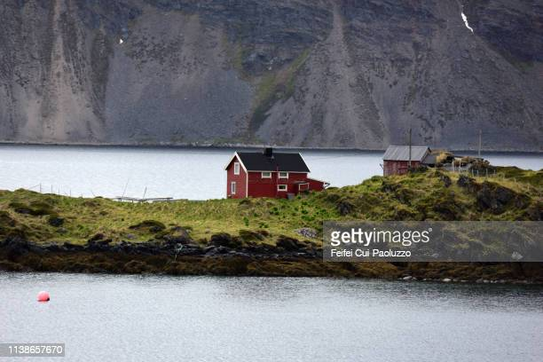 fjord landscape at ivarsfjorden, finnmark, northern norway - feifei cui paoluzzo stock pictures, royalty-free photos & images