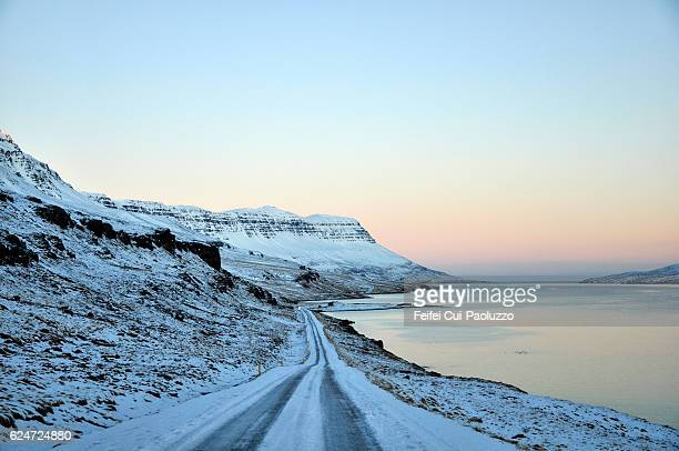 Fjord road of Seyðisfjörður in eastern Iceland