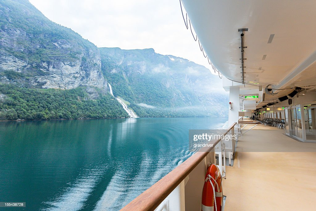 Fjord View on a Cruise Ship : Stock Photo