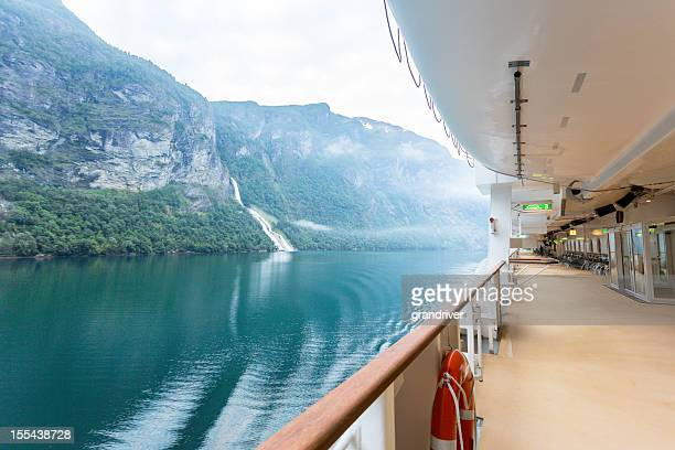 fjord view on a cruise ship - deck stock pictures, royalty-free photos & images