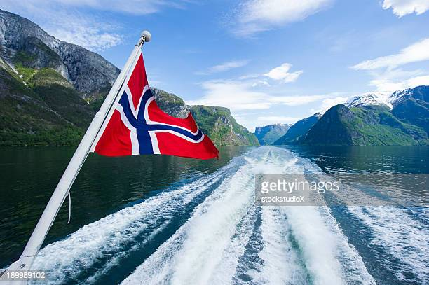 fjords of norway - norwegian flag stock pictures, royalty-free photos & images