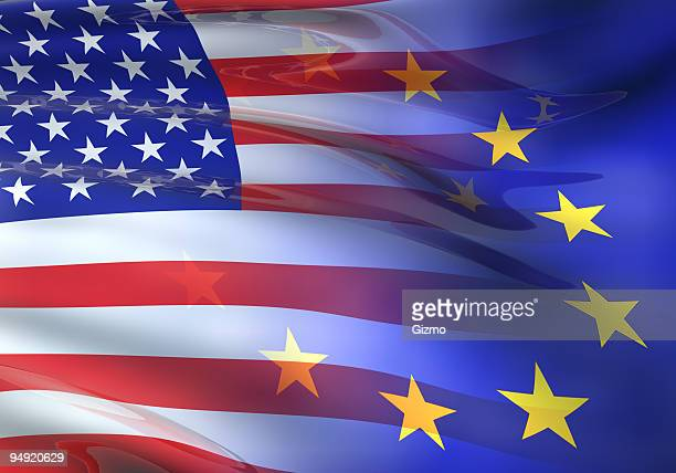 us - eu flag 3d - usa stock pictures, royalty-free photos & images