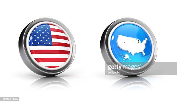 USA flag & map icons